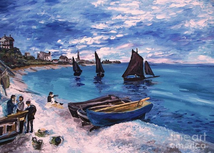 Monet Greeting Card featuring the painting Beach At Sainte Adresse Monet by Eric Schiabor