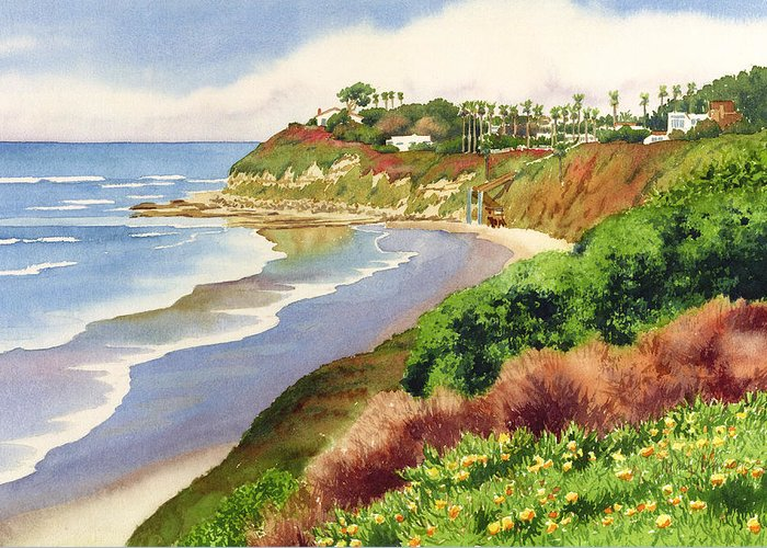 Encinitas Greeting Card featuring the painting Beach At Swami's Encinitas by Mary Helmreich