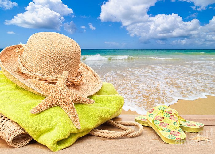 Summer Greeting Card featuring the photograph Beach Bag With Sun Hat by Amanda Elwell