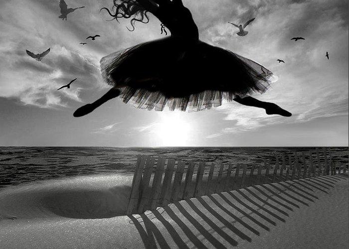 Ballerina Greeting Card featuring the digital art Beach Ballerina by Nina Bradica