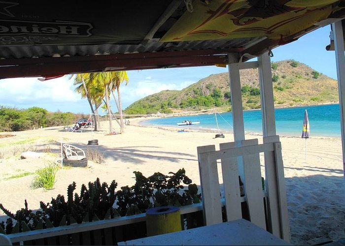 St Kitts Greeting Card featuring the photograph Beach Bar In January by Ian MacDonald