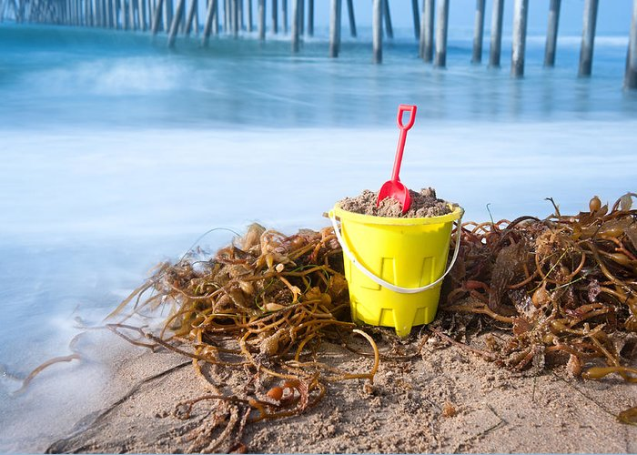 Bucket Greeting Card featuring the photograph Beach Bucket In Sand by Joe Belanger