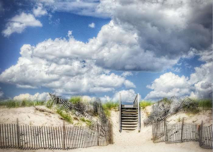 Fence Greeting Card featuring the photograph Beach Clouds And Fence by Vicki Jauron