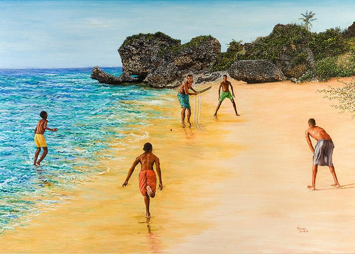 Sand Greeting Card featuring the painting Beach Cricket by Victor Collector