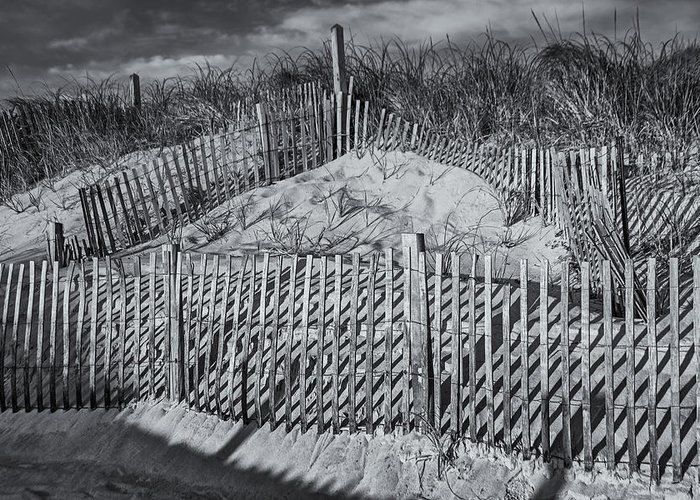 Cape Cod Greeting Card featuring the photograph Beach Fence Bw by Susan Candelario