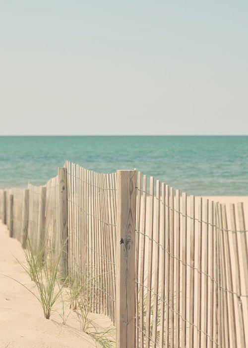 Beach Greeting Card featuring the photograph Beach Fence Ocean Shabby Photograph by Elle Moss