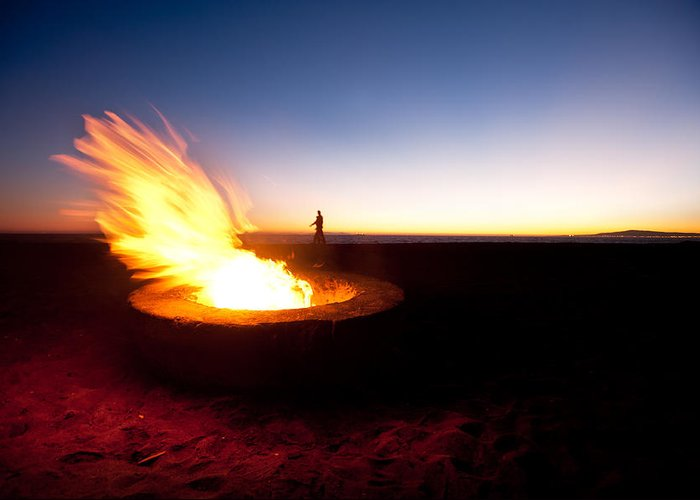 Fire Greeting Card featuring the photograph Beach Fire Pit by Joe Belanger