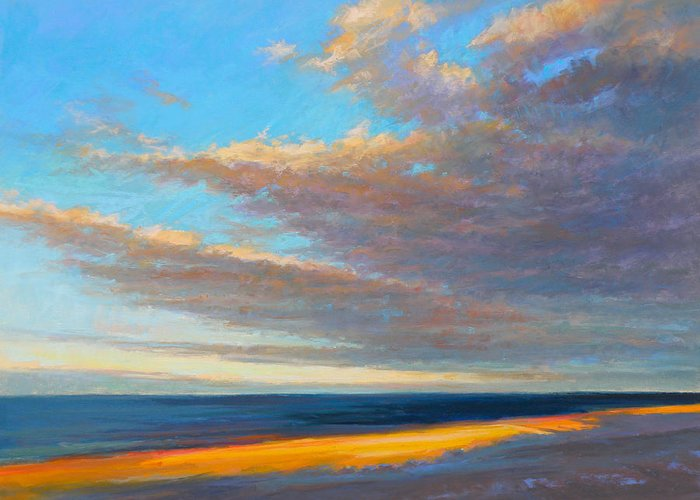 Beach Greeting Card featuring the painting Beach Front by Ed Chesnovitch