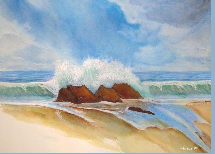 Rick Huotari Greeting Card featuring the painting Beach Front by Rick Huotari