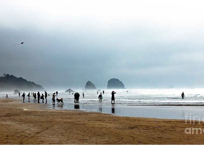 Oregon Coast. Seascape Greeting Card featuring the photograph Beach Fun At Ecola by Robert Bales