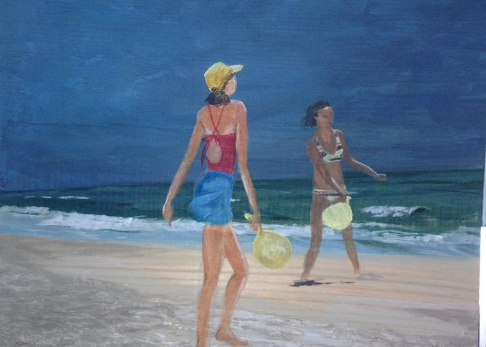 Beach Greeting Card featuring the painting Beach Games by Donna Rollins