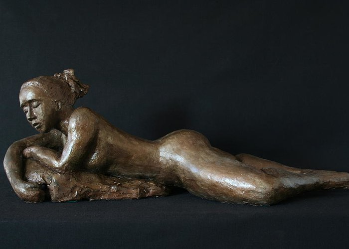 Fired Clay Sculpture Greeting Card featuring the sculpture Beach Girl - Profil by Flow Fitzgerald