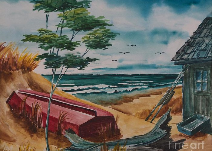 Lake Superior Greeting Card featuring the painting Beach Hideaway by Gary McDonnell