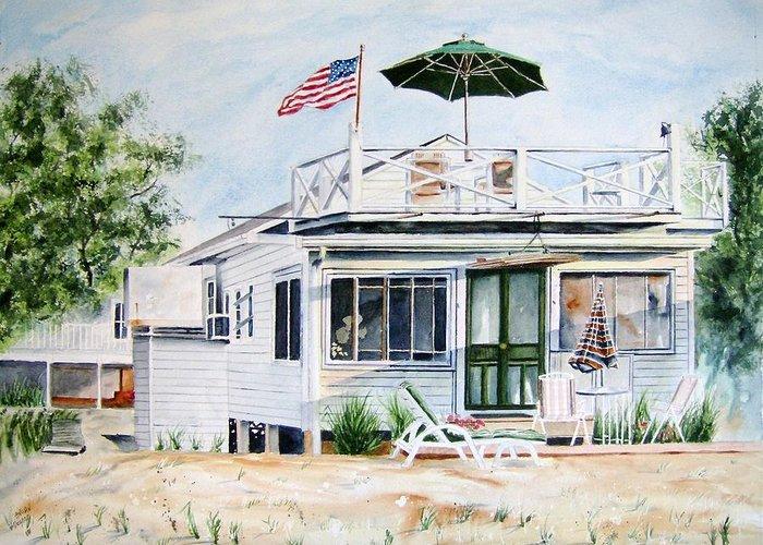 Beach Greeting Card featuring the painting Beach House by Brian Degnon