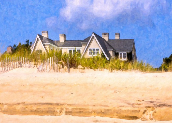 New York Greeting Card featuring the photograph Beach House In The Hamptons by Mark E Tisdale