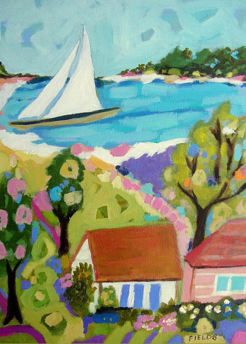 Sailboat Greeting Card featuring the painting Beach House Island by Karen Fields