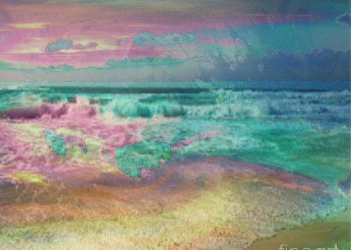 Overcas Greeting Card featuring the painting Beach Overcast by PainterArtist FIN