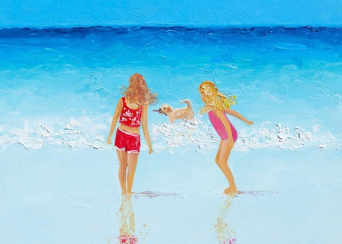 Children With Dog At Beach Greeting Cards