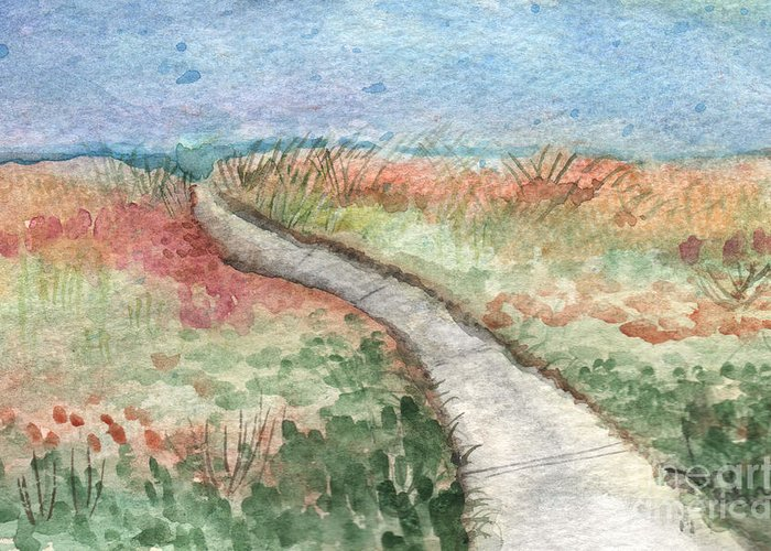 Beach Greeting Card featuring the painting Beach Path by Linda Woods