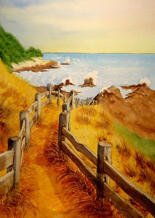 Weather Beaten Wood Fence Greeting Card featuring the painting Beach Path by Sandra Stone