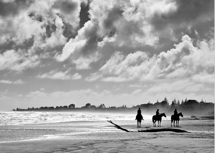 Ride Greeting Card featuring the photograph Beach Riders by Dave Bowman