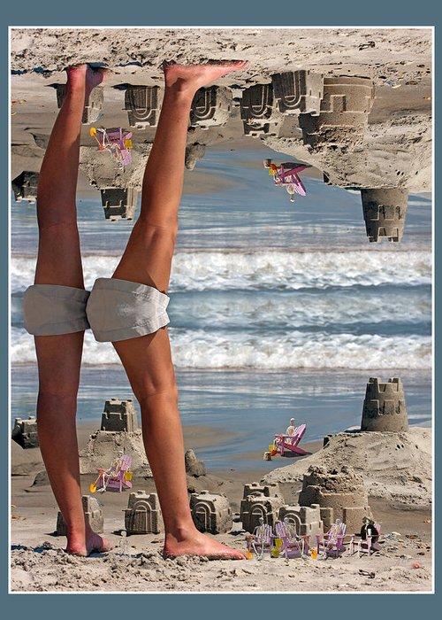 Beach Greeting Card featuring the digital art Beach Scene by Betsy Knapp