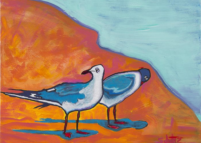 Birds Greeting Card featuring the painting Beach Shadows by John Schultz