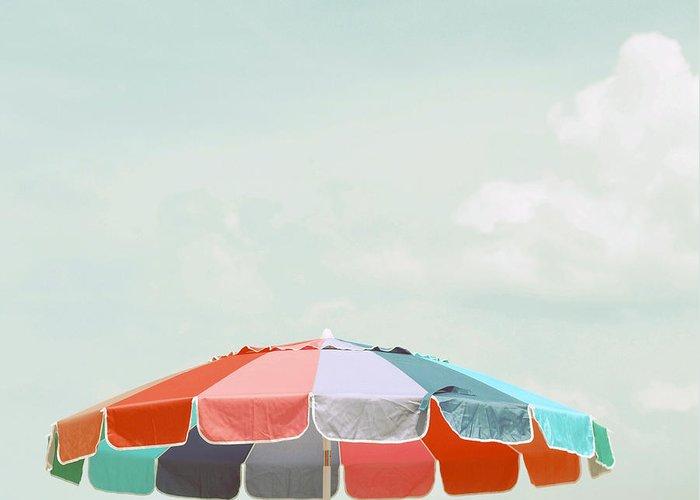 Umbrella Greeting Card featuring the photograph Beach Umbrella by Elle Moss