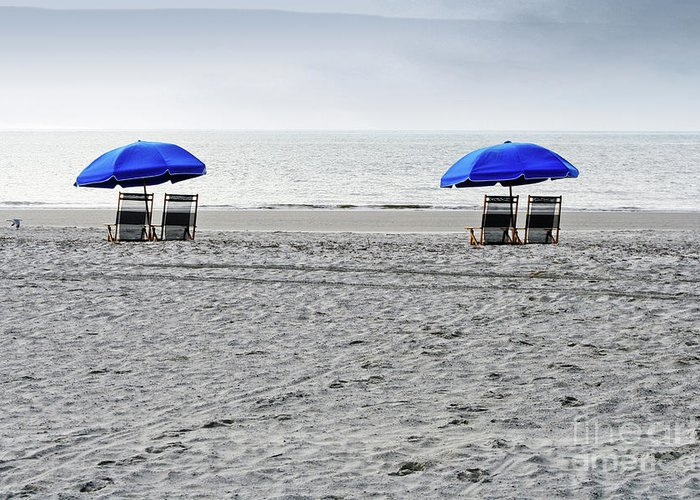 Hilton Head Greeting Card featuring the photograph Beach Umbrellas On A Cloudy Day by Thomas Marchessault