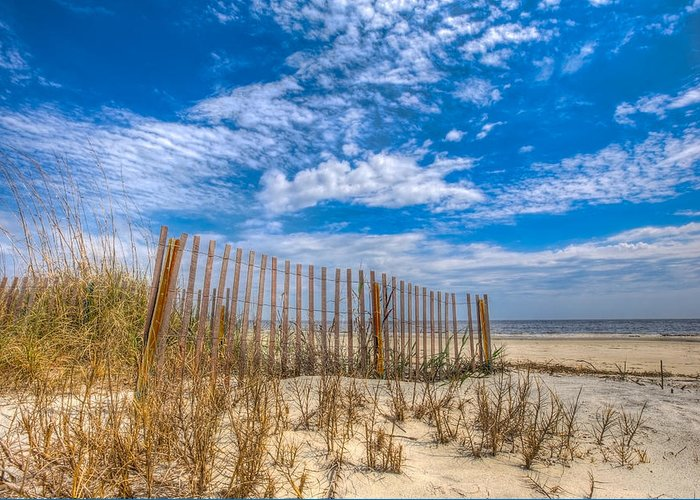 Clouds Greeting Card featuring the photograph Beach Under Blue Skies by Debra and Dave Vanderlaan