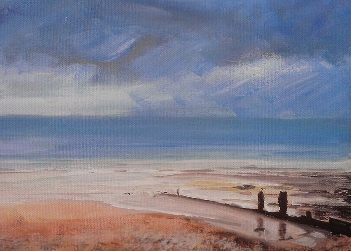 Beach Greeting Card featuring the painting Beach View 2 by Paul Mitchell