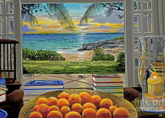 Beach Greeting Card featuring the painting Beach View by Carey Chen