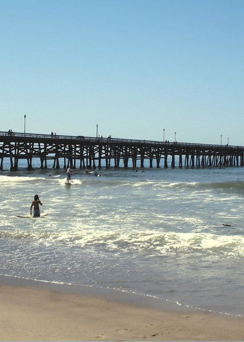 Orange County Greeting Card featuring the photograph Beach View With Pier 2 by Ben and Raisa Gertsberg
