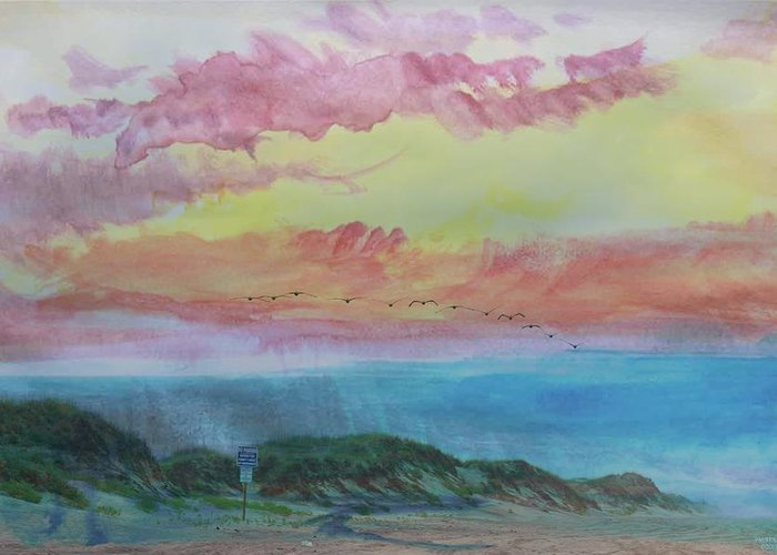 Beach Greeting Card featuring the photograph Beach Watercolor 2 by PM Staab