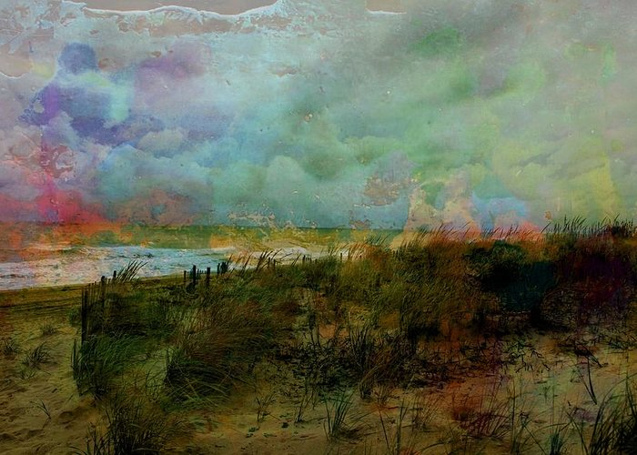 Beach Greeting Card featuring the digital art Beach Watercolor 3 by PM Staab