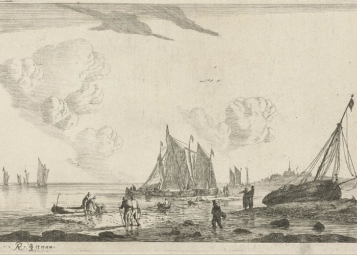 Beach Greeting Card featuring the drawing Beach With A Sailing Ship Drawn On The Sand by Reinier Nooms