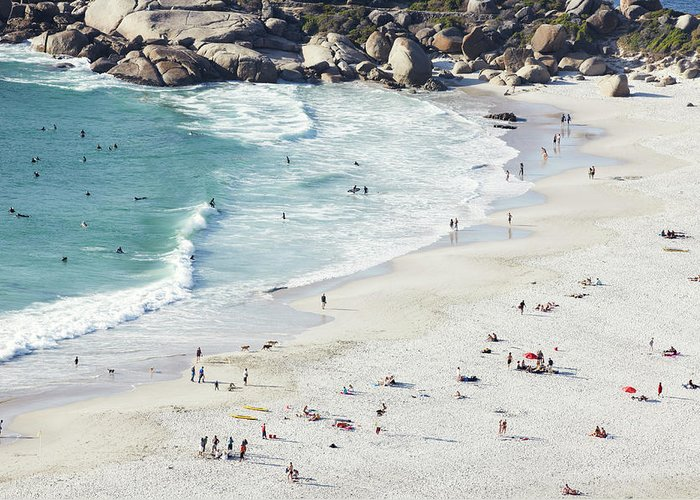 Sunbathing Greeting Card featuring the photograph Beach With Swimmers Cape Town by Michael Blann