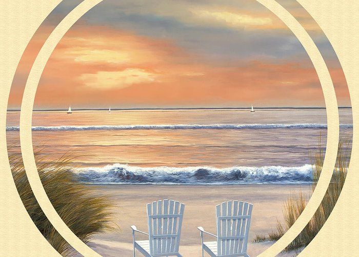 Beach Greeting Card featuring the painting Beach World by Diane Romanello
