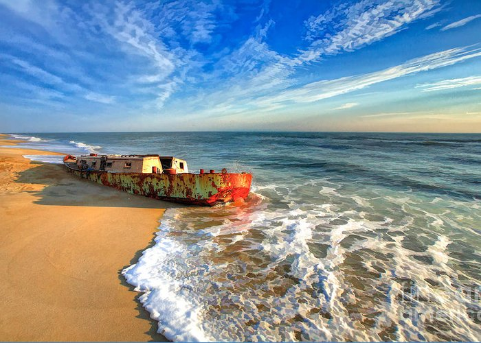 Outer Banks Greeting Card featuring the painting Beached Boat Morning - Outer Banks by Dan Carmichael
