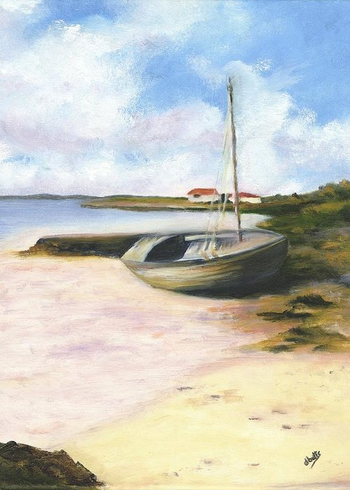 Beach Greeting Card featuring the painting Beached by Deborah Butts