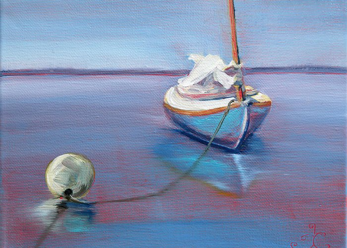 Sailboat Greeting Card featuring the painting Beached Sailboat At Mooring by Trina Teele
