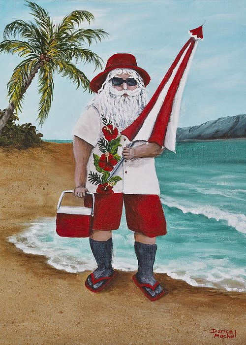 Christmas Greeting Card featuring the painting Beachen Santa by Darice Machel McGuire