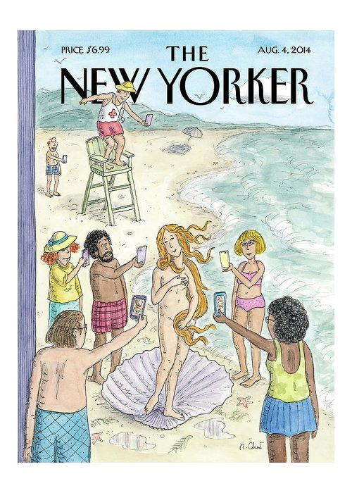 Beach Greeting Card featuring the painting Venus on the Beach by Roz Chast
