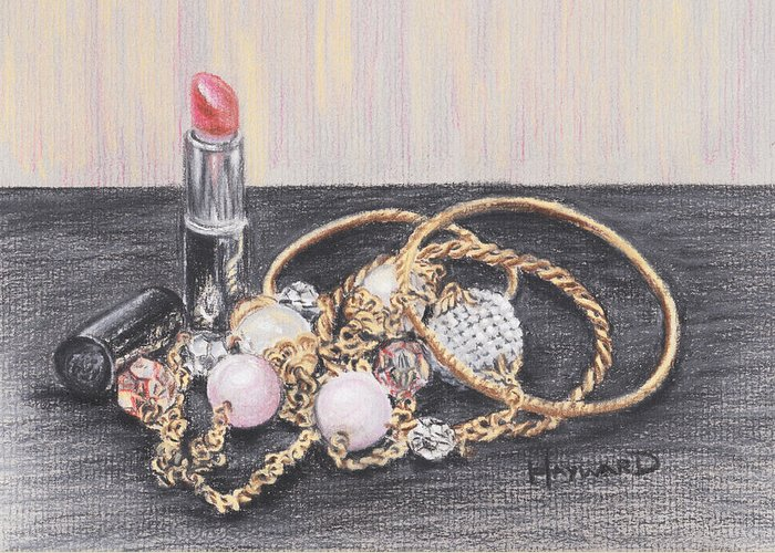 Jewellery Greeting Card featuring the drawing Beads And Bangles by Lucy Hayward