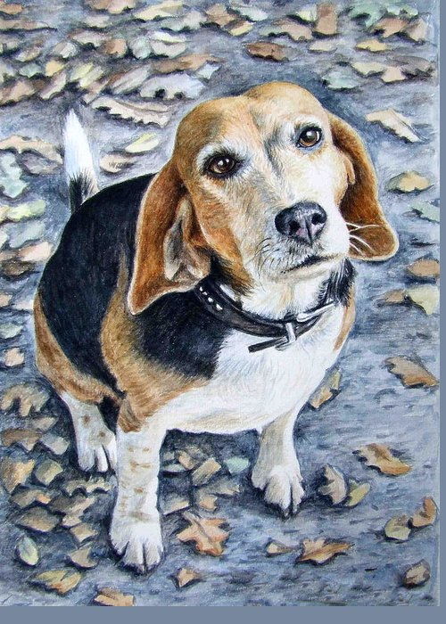 Dog Greeting Card featuring the painting Beagle In Autumn by Nicole Zeug