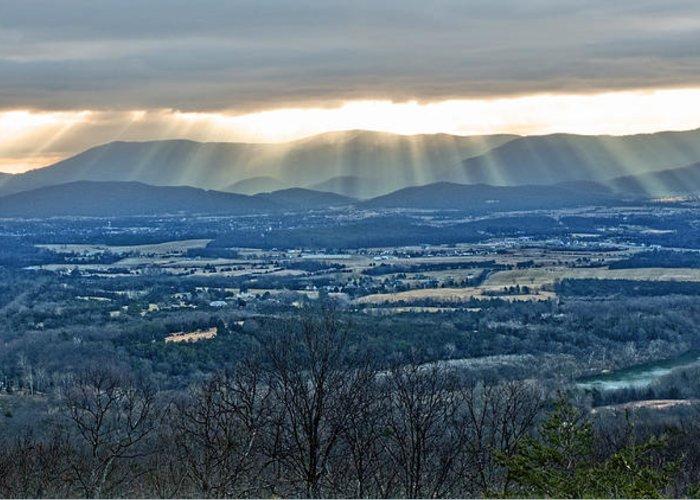 Light Beams Greeting Card featuring the photograph Beaming March Shenandoah by Lara Ellis