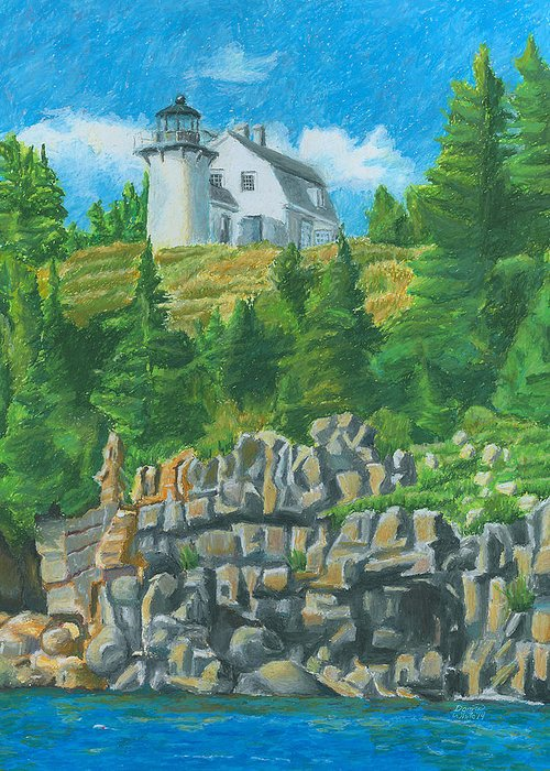 New England Lighthouse Drawings Greeting Cards