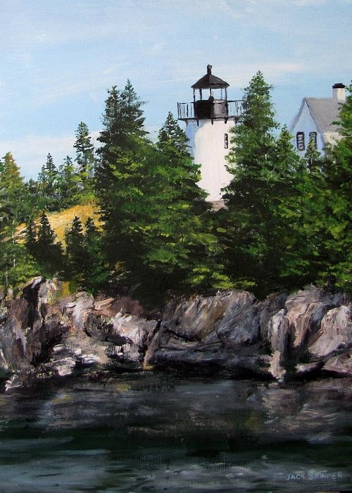 Lighthouse Greeting Card featuring the painting Bear Island Lighthouse by Jack Skinner