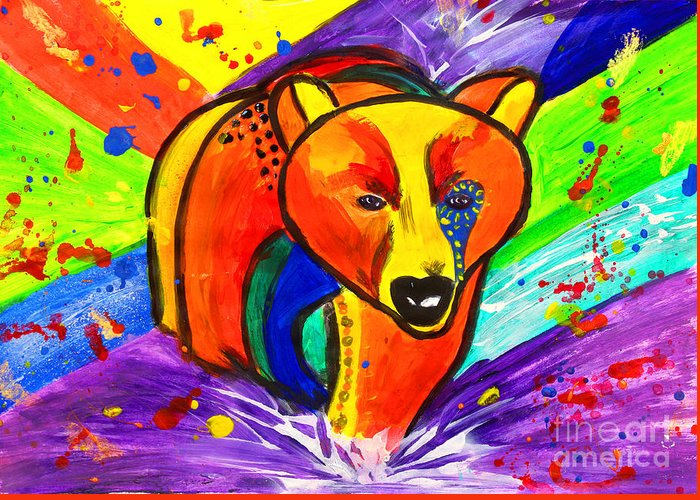 Bear Pop Art Greeting Card featuring the painting Bear Pop Art by Julia Fine Art And Photography