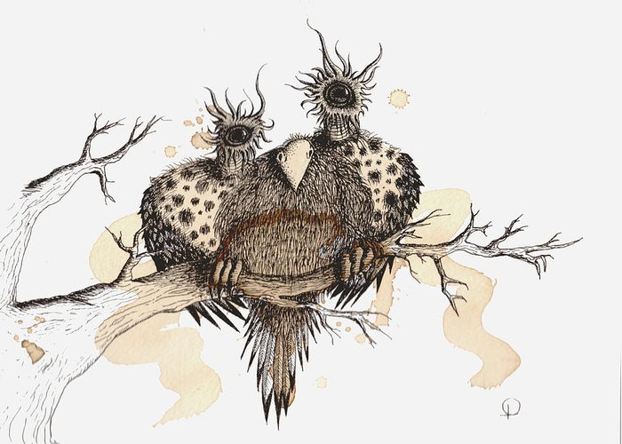 Art Greeting Card featuring the drawing Bearded Fluff Hoot by Lisa Stevens